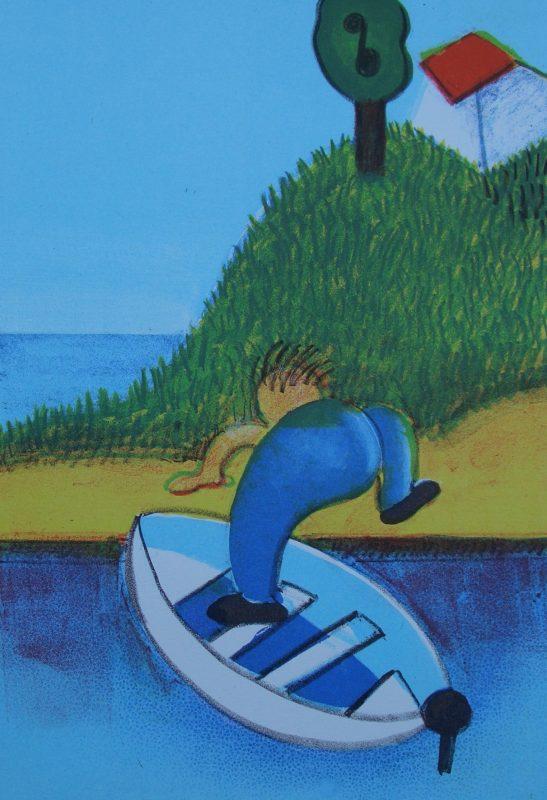 Opp av båten