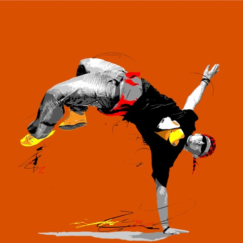Hip Hop orange 20 x 20